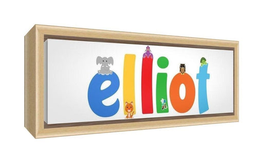 Feel Good Art Framed Box Canvas with Solid Natural Wooden Surround in Cute Illustrative Design Boy's Name (25 x 63 x 3 cm, Medium, Elliot)