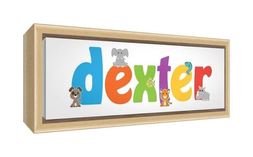 Feel Good Art Framed Box Canvas with Solid Natural Wooden Surround in Cute Illustrative Design Boy's Name (25 x 63 x 3 cm, Medium, Dexter)