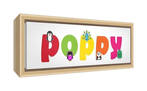 Feel Good Art Framed Box Canvas with Solid Natural Wooden Surround in Cute Illustrative Design Girl's Name (34 x 88 x 3 cm, Large, Poppy)