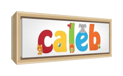 Feel Good Art Framed Box Canvas with Solid Natural Wooden Surround in Cute Illustrative Design Boy's Name (25 x 63 x 3 cm, Medium, Caleb)