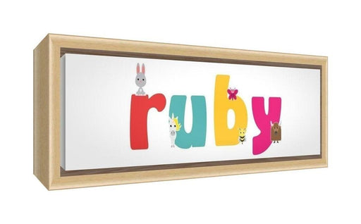Feel Good Art Framed Box Canvas with Solid Natural Wooden Surround in Cute Illustrative Design Girl's Name (34 x 88 x 3 cm, Large, Ruby)