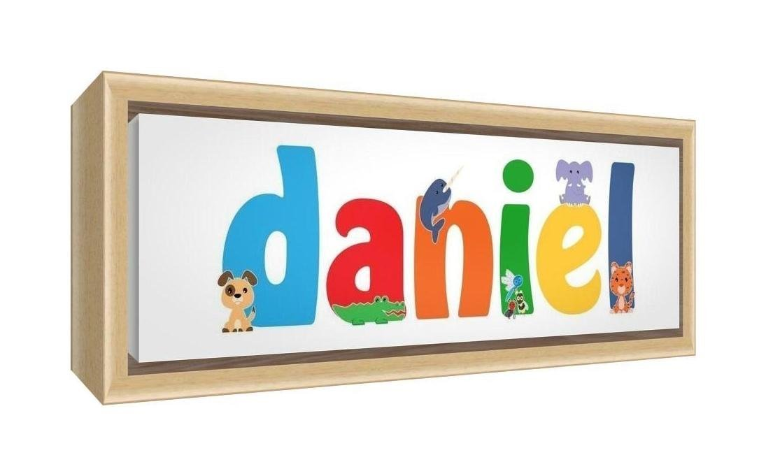 Feel Good Art Framed Box Canvas with Solid Natural Wooden Surround in Cute Illustrative Design Boy's Name (25 x 63 x 3 cm, Medium, Daniel)