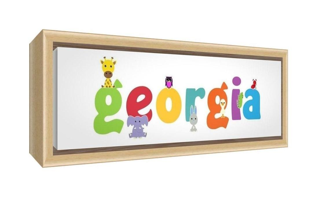 Feel Good Art Framed Box Canvas with Solid Natural Wooden Surround in Cute Illustrative Design Girl's Name (34 x 88 x 3 cm, Large, Georgia)