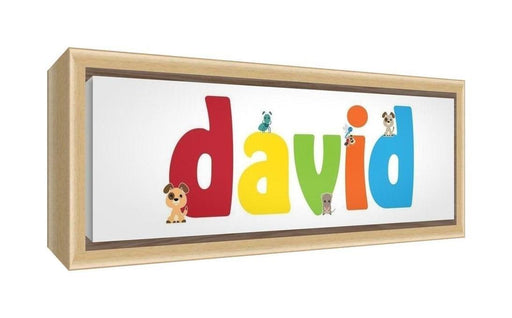 Feel Good Art Framed Box Canvas with Solid Natural Wooden Surround in Cute Illustrative Design Boy's Name (25 x 63 x 3 cm, Medium, David)