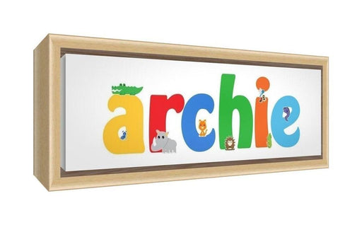 Feel Good Art Framed Box Canvas with Solid Natural Wooden Surround in Cute Illustrative Design Boy's Name (25 x 63 x 3 cm, Medium, Archie)