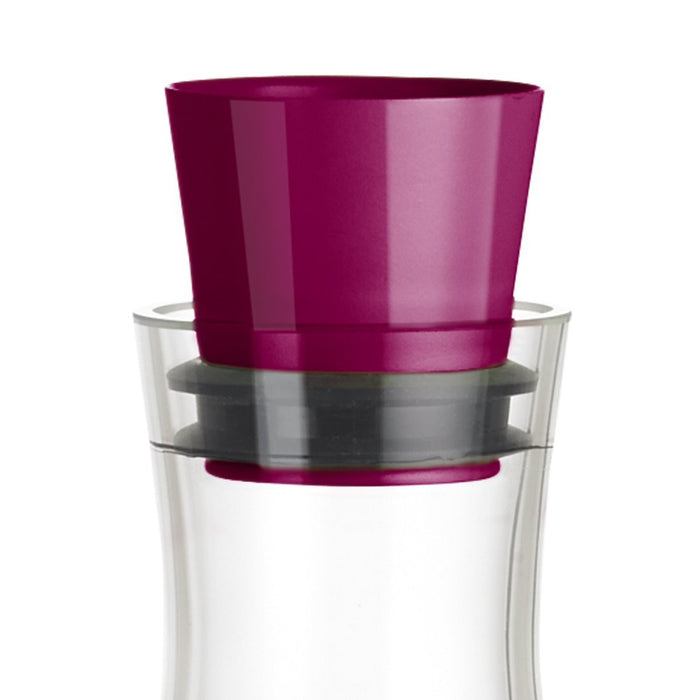 Emsa 515477 Flow Friends Slim Keep Cool Carafe, Glass, Raspberry, 1.0 Litres