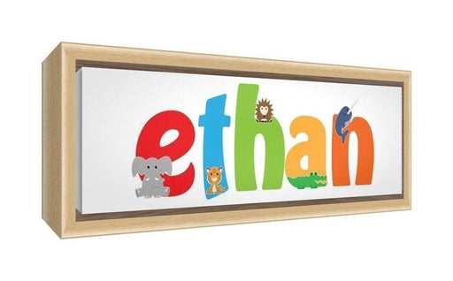 Feel Good Art Framed Box Canvas with Solid Natural Wooden Surround in Cute Illustrative Design Boy's Name (25 x 63 x 3 cm, Medium, Ethan)