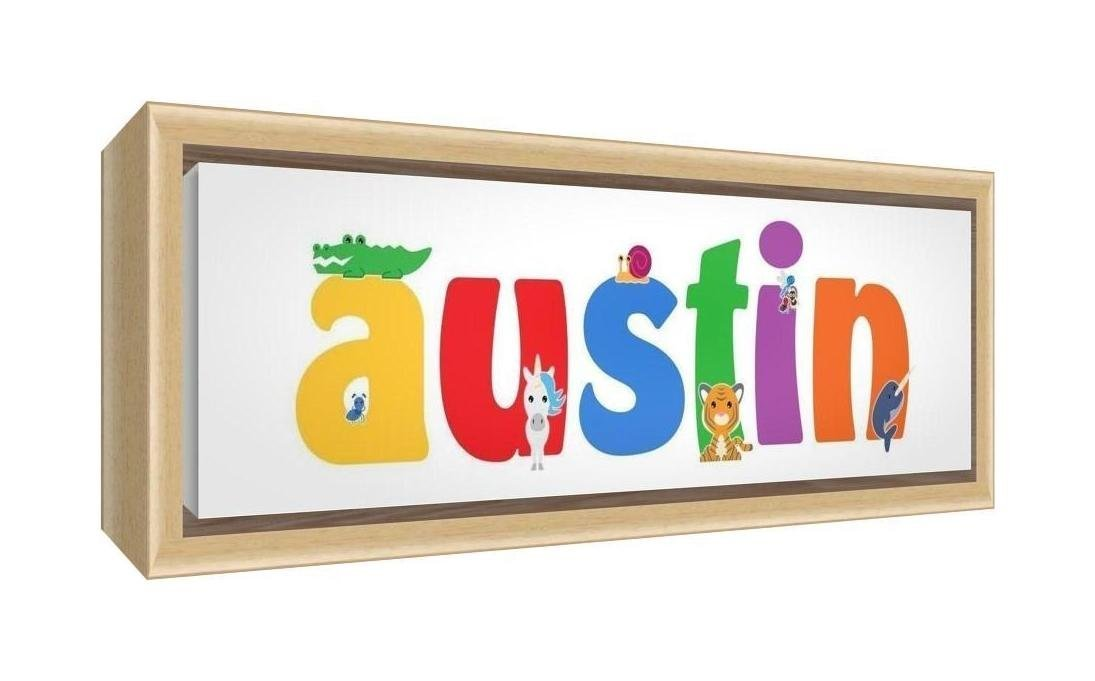 Feel Good Art Framed Box Canvas with Solid Natural Wooden Surround in Cute Illustrative Design Boy's Name (25 x 63 x 3 cm, Medium, Austin)