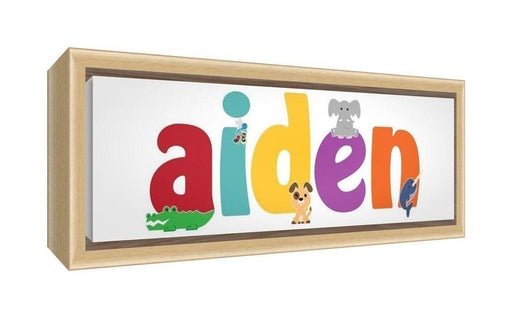 Feel Good Art Framed Box Canvas with Solid Natural Wooden Surround in Cute Illustrative Design Boy's Name (25 x 63 x 3 cm, Medium, Aiden)
