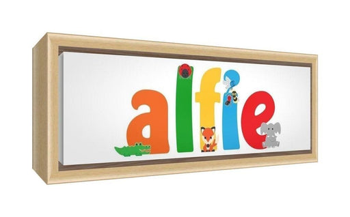 Feel Good Art Framed Box Canvas with Solid Natural Wooden Surround in Cute Illustrative Design Boy's Name (25 x 63 x 3 cm, Medium, Alfie)