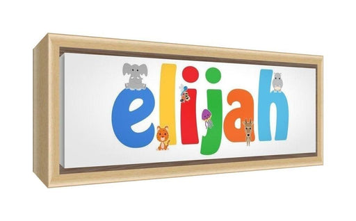 Feel Good Art Framed Box Canvas with Solid Natural Wooden Surround in Cute Illustrative Design Boy's Name (25 x 63 x 3 cm, Medium, Elijah)
