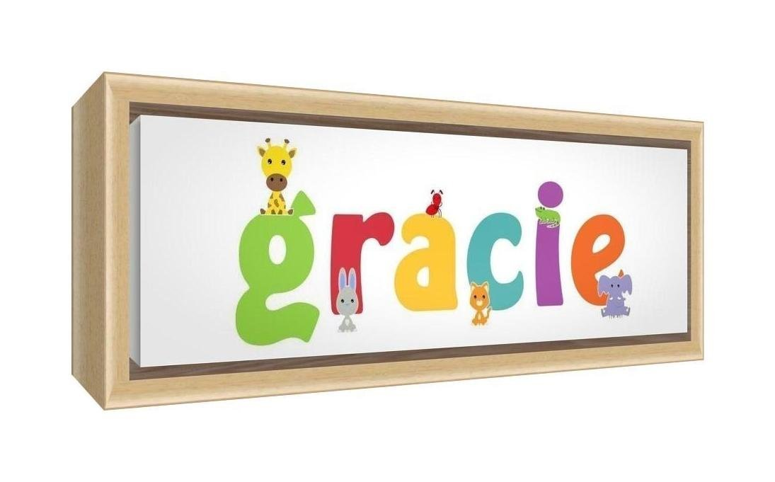 Feel Good Art Framed Box Canvas with Solid Natural Wooden Surround in Cute Illustrative Design Girl's Name (34 x 88 x 3 cm, Large, Gracie)