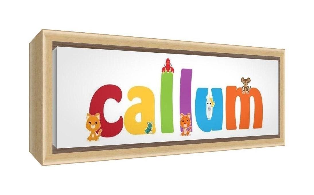 Feel Good Art Framed Box Canvas with Solid Natural Wooden Surround in Cute Illustrative Design Boy's Name (25 x 63 x 3 cm, Medium, Callum)