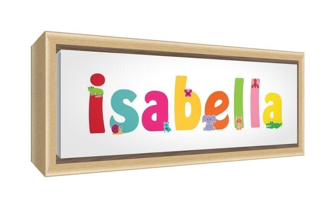 Feel Good Art Framed Box Canvas with Solid Natural Wooden Surround in Cute Illustrative Design Girl's Name (34 x 88 x 3 cm, Large, Isabella)