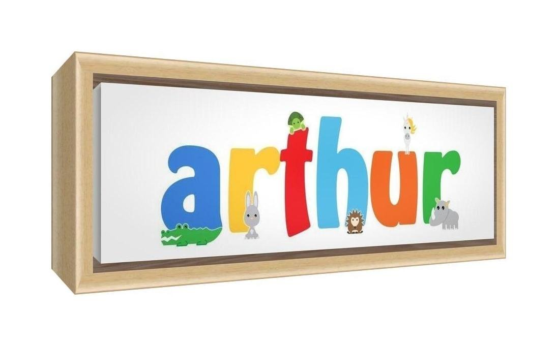 Feel Good Art Framed Box Canvas with Solid Natural Wooden Surround in Cute Illustrative Design Boy's Name (25 x 63 x 3 cm, Medium, Arthur)