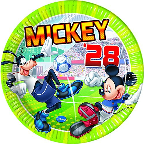 23cm Disney Mickey Mouse Football Party Plates, Pack of 8