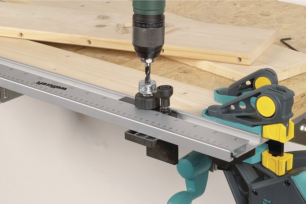 Wolfcraft 4650000 Dowelling Jig with exchangeable drilling bushes of Ø 5, 6, 8 and 10 mm