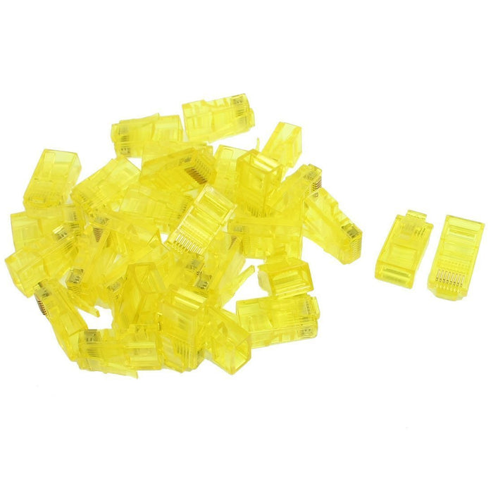 Yellow Housing 8P8C Cat5 CatE Modular Network Cable Plug RJ45 Connector 30 Pcs