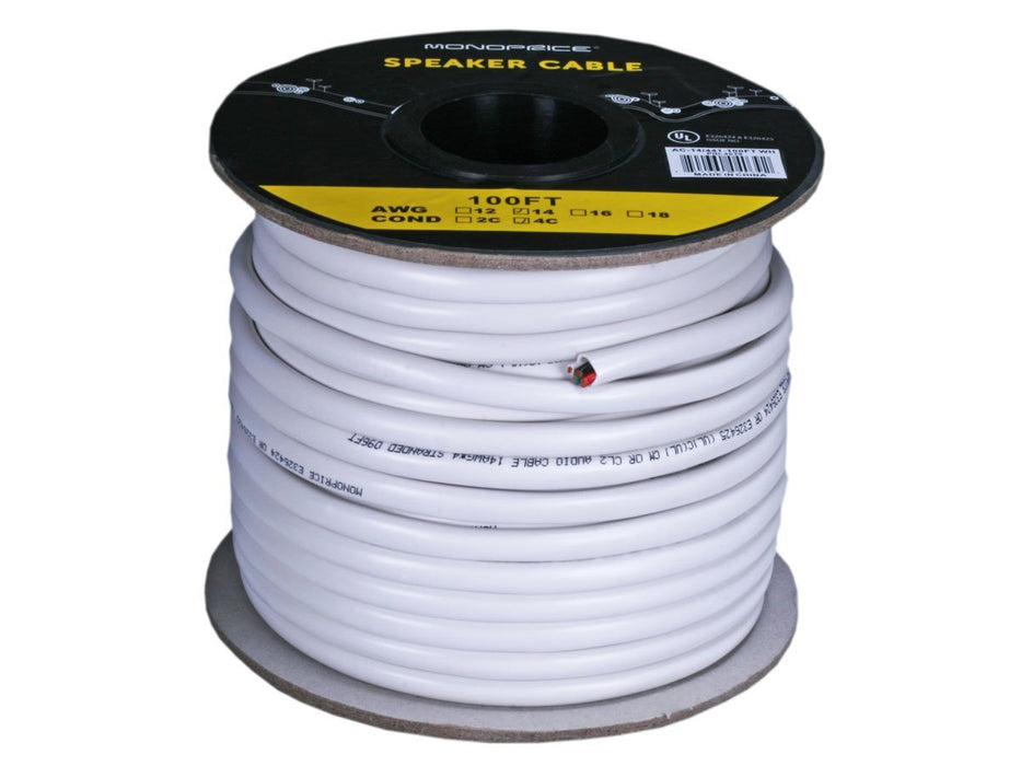 Monoprice 104039 100 ft 14AWG CL2 Rated 4-Conductor Oxygen-Free Pure Bare Copper Speaker Wire Cable