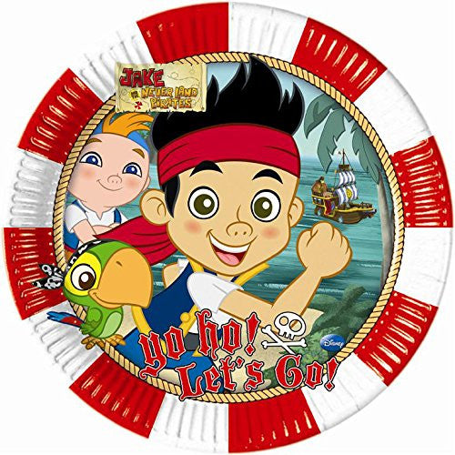 23cm Yo Ho Disney Jake and the Never Land Pirates Paper Plates, Pack of 8