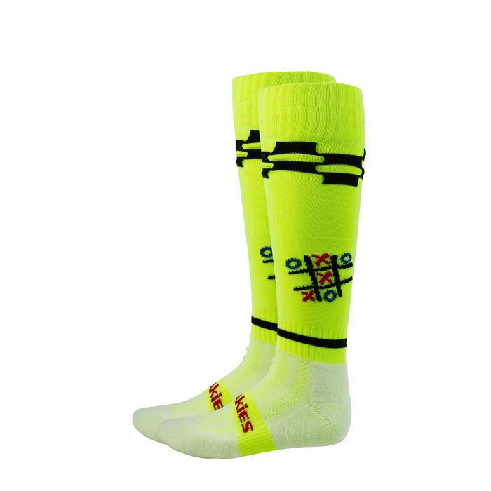 Freakies Men's Noughts and Crosses Knee Length Sock - Yellow, Size 7-11