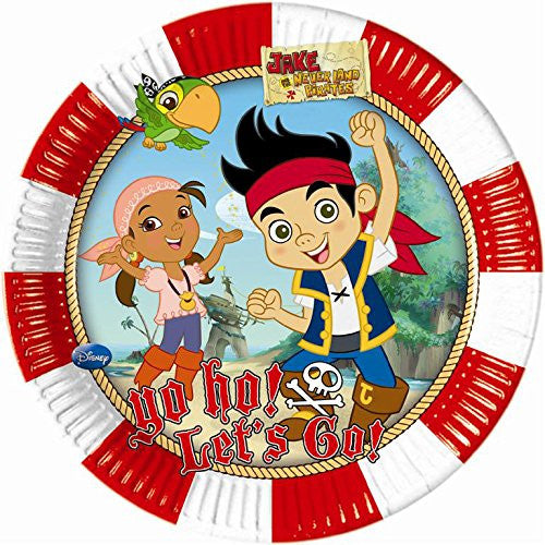 20cm Yo Ho Disney Jake and the Never Land Pirates Paper Plates, Pack of 8
