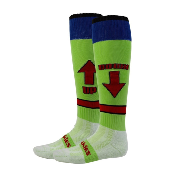 Freakies Boy's Up and Down Knee Length Sock - Lime, Size 3-6