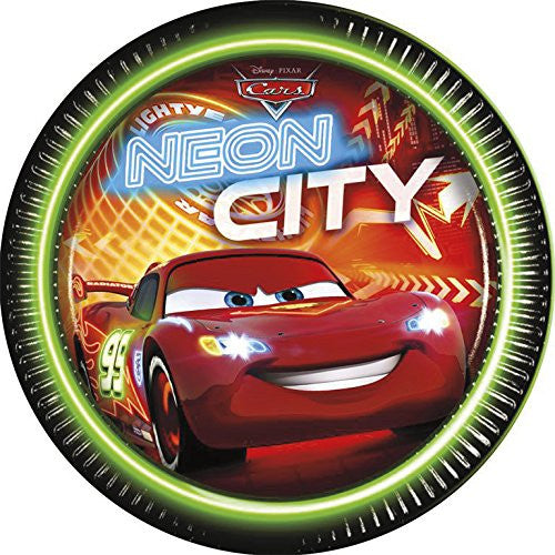 23cm Neon Disney Cars Paper Plates, Pack of 8
