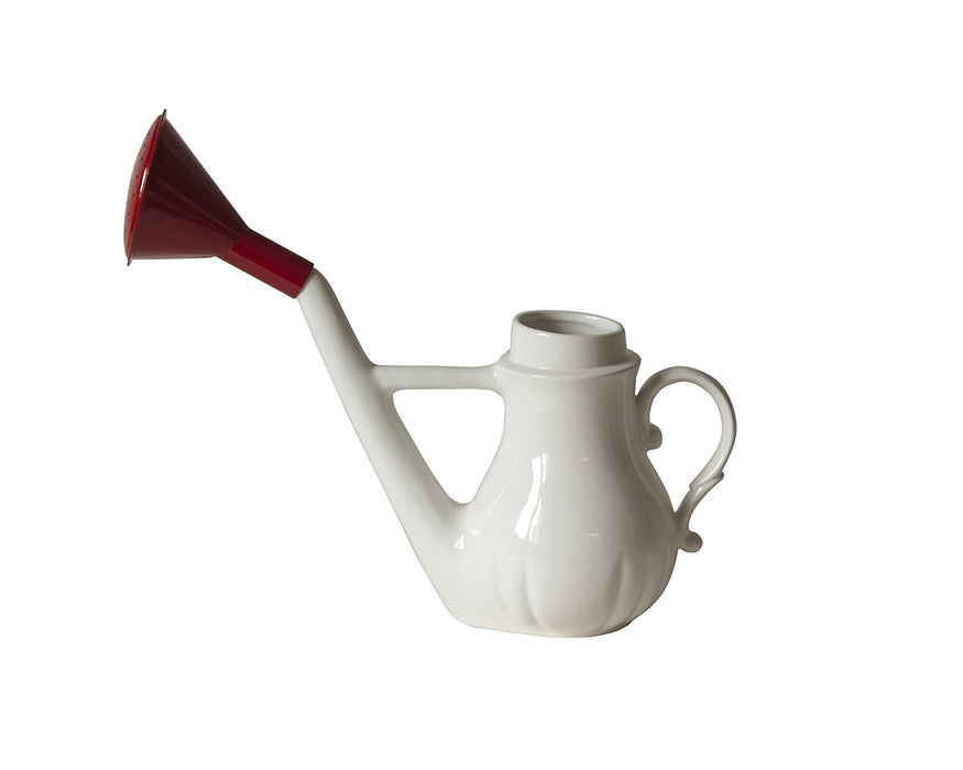 "Seletti ""Swan"" Porcelain Watering, White/Red, 14 x 38 cm"