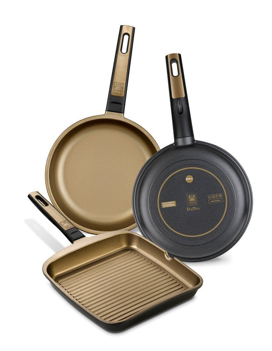 BRA Terra - Flat grill pan, 22 cm, cast aluminium with Teflon Select non-stick