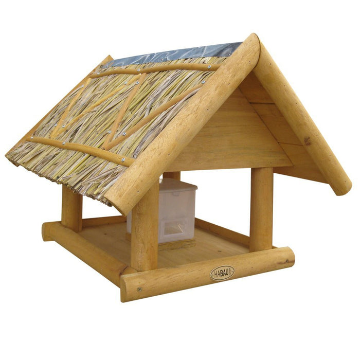 Habau Borkum Bird House with Straw Roof and Stand / Silo