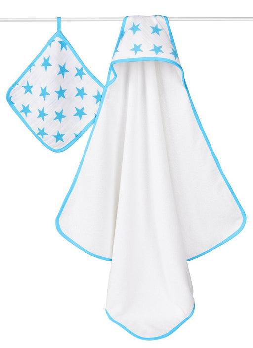 aden + anais Hooded Towel And Washcloth Set (Fluro Blue)