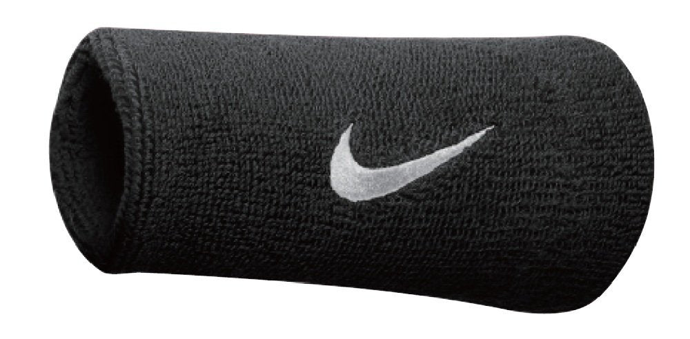 Nike Swoosh Doublewide Sweatbands (Pack of 2) Green Neongrün, Schwarz Size:One Size
