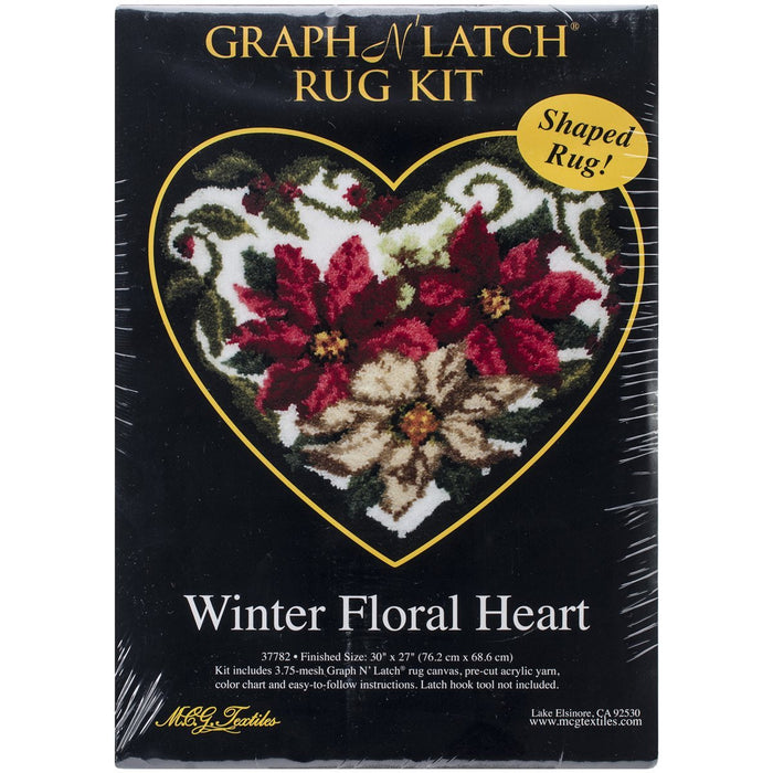 M C G Textiles 30 x 27-inch Winter Floral Heart Shaped Latch Hook Kit