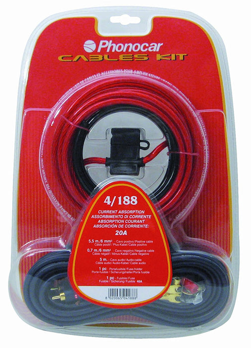 Phonocar 4/188 Cables Kit with Accessories for Mains Cable 6 mm² with a Fuse Multicoloured