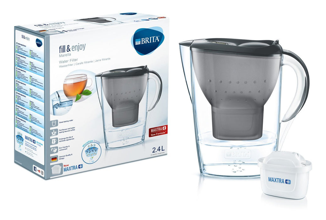 Brita Marella Cool 1024048 Starter Pack Wassfi Filter, Funnel and Jug - SMMA Cover - ABS/ASA, Graphite, 26 x 9 x 25 cm