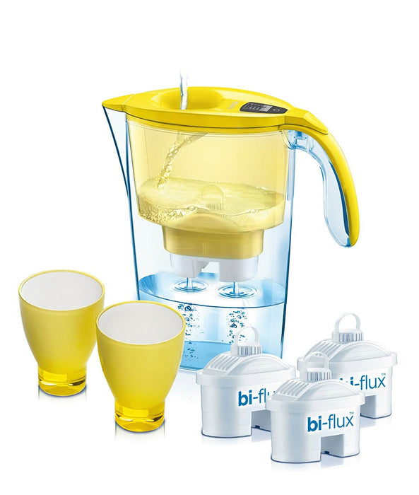 Laica water filtration kit: 1 x 2.3 lt jug + 3 filters Bi-flux + 2 stylish colour glasses