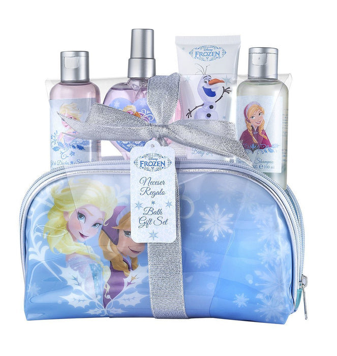Disney Frozen Snow Queen – Children's Wash Bag Box + Fresh Fragrant Water 100 ml + 100 ml Shower Gel + Shampoo 100ml + Body Milk 60 ml