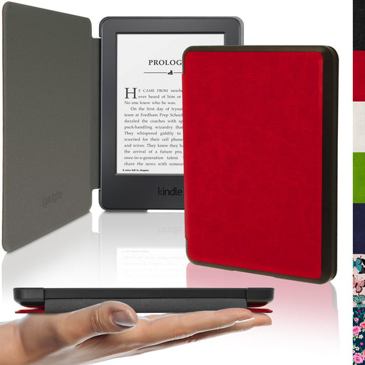 iGadgitz Slim PU Leather Shell Case Cover for New Amazon Kindle 2014 7th Generation - Red
