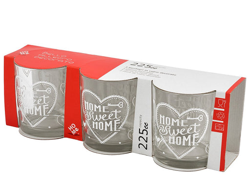 Home Sweethome Pack of 3 Glasses, Glass, Transparent, 7.5 x 7.5 x 8.5 cm