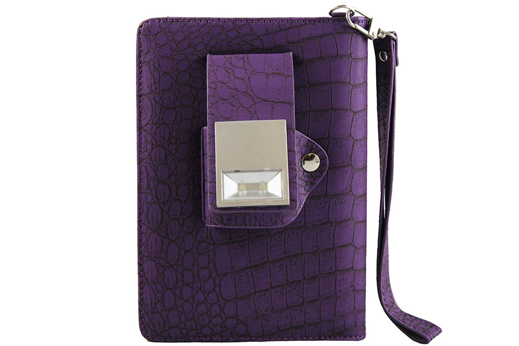 Aquarius Book Lighter Leather Case with LED Light for Amazon Kindle 4 - Purple