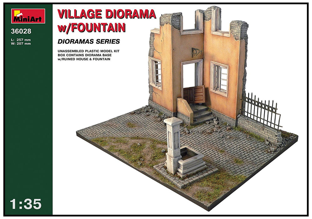 "Miniart 1:35 Scale ""Village Diorama with Fountain"" Plastic Model Kit (Grey)"