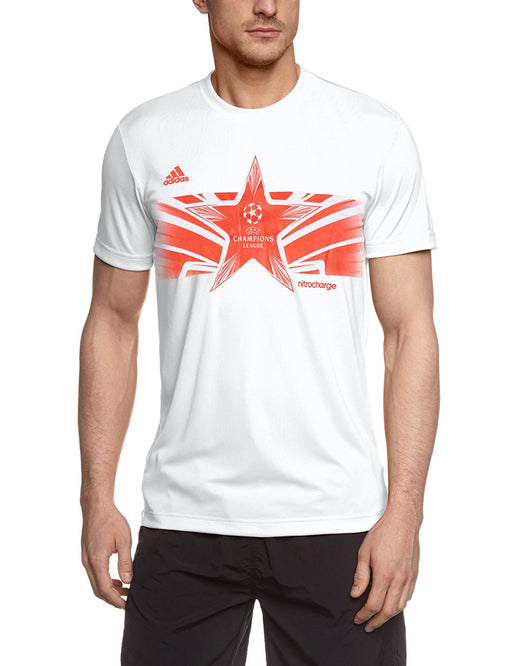adidas UEFA Champions League Poly Men's Short-Sleeved Top White White/hi-res Red F13 Size:XL