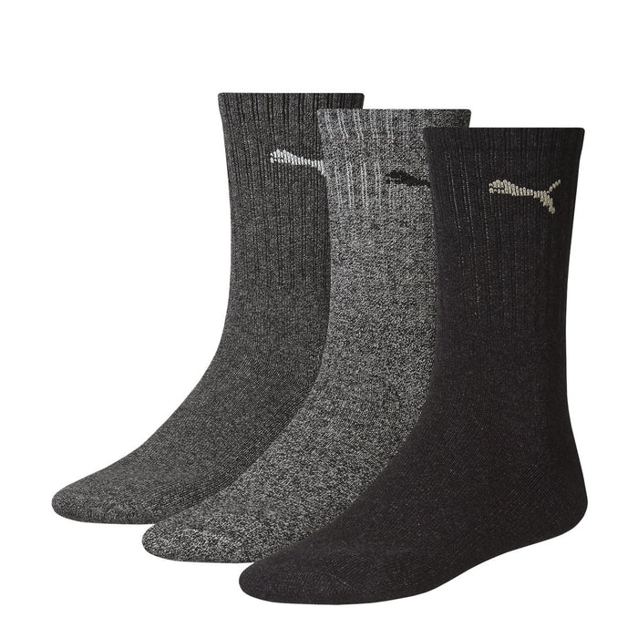 Puma Sports Socks Unisex Crew (3 Pair Pack), Anthracite Grey,  UK Size 9-11