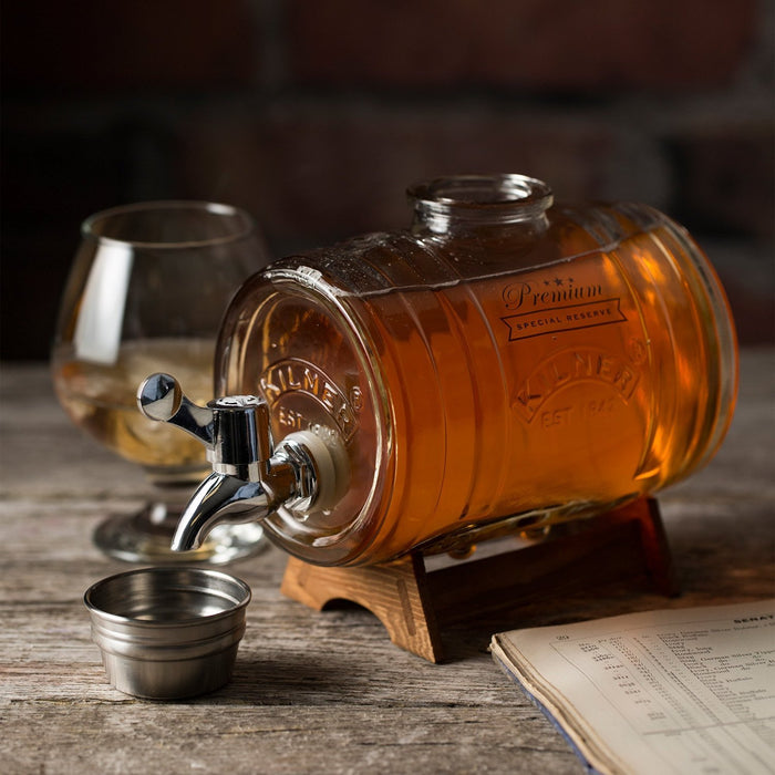 Kilner Barrel Dispenser 1 Litre - Glass Barrel Shaped Drink Dispenser with Stand, Tap and Measure