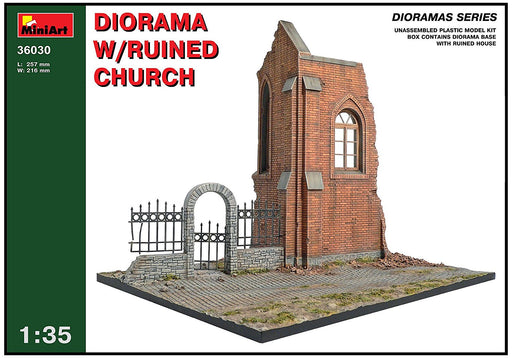 "Miniart 1:35 Scale ""Diorama with Ruined Church"" Plastic Model Kit (Grey)"