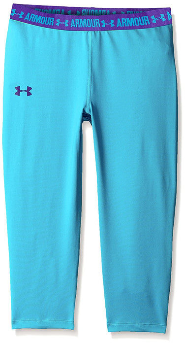 Under Armour Girl's Base Layer Capri - Meridian Blue, Youth/X-Large