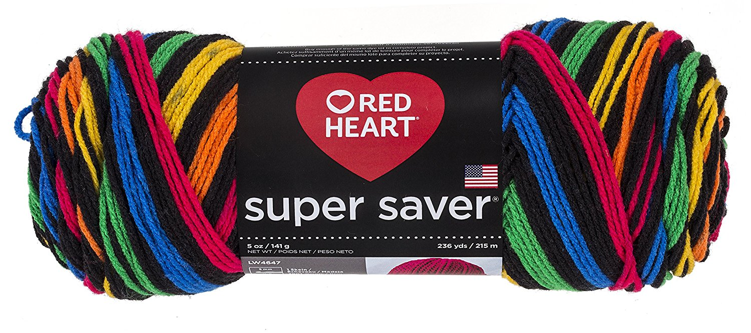 Coats YarnRed Heart Super Saver Yarn-Primary Stripes, Other, Multicoloured