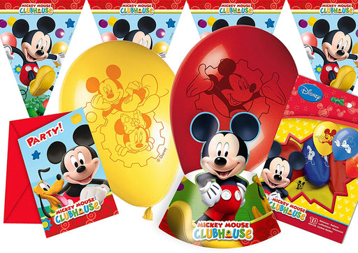 Ciao Y2512 Party Party-Kit, Mickey Mouse Club House For 12 People (41 Pieces: 12 Invitations with Envelopes, Hats 16 12 Balloons, 1 Row Flag)