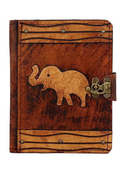A Little Present Elephant Decoration Vintage Leather Hardcover Keyboard Case Cover with Brown Lock for Kindle Fire HD/Samsung Galaxy Tab 2